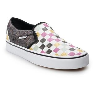 Vans Asher Sparkle Checkered Skate Shoe Slip Ons